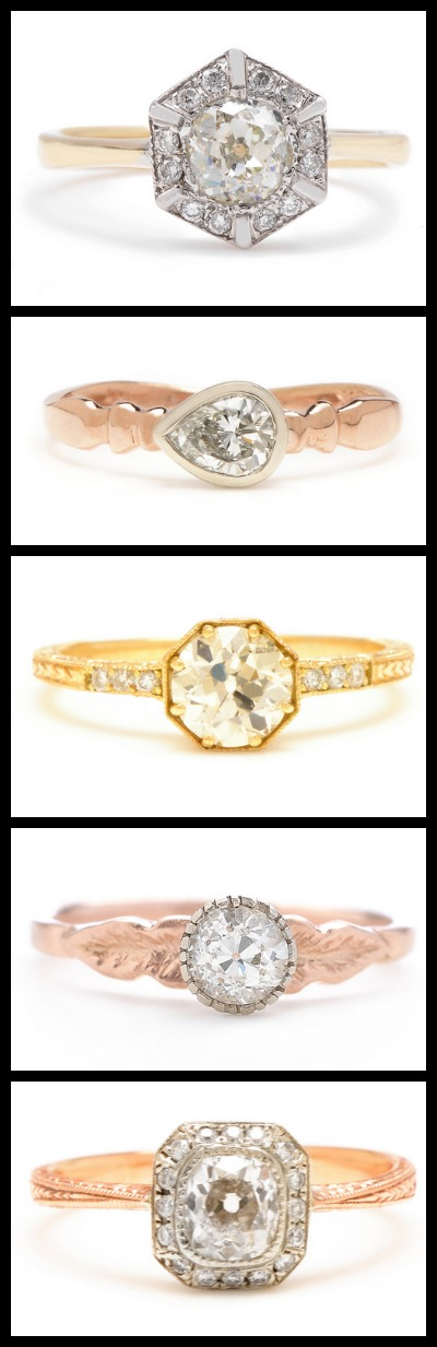 Beautiful gold and diamond engagement rings by Lori McLean jewelry.