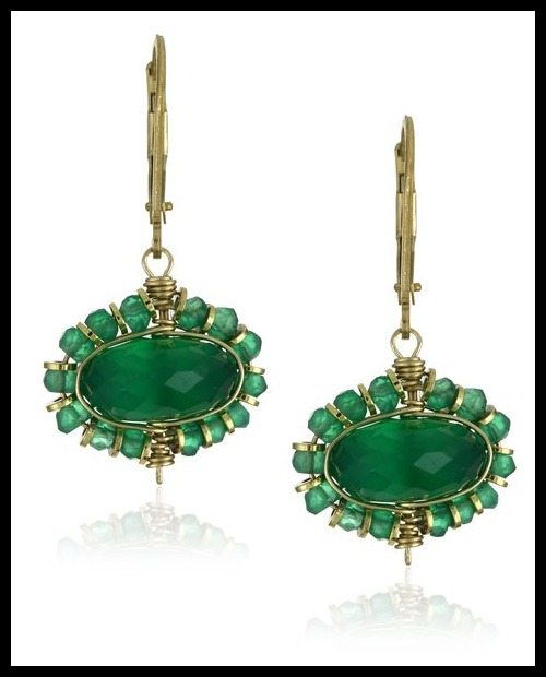 Dana Kellin hand wire wrapped green onyx and gold-fill roundel drop earrings.