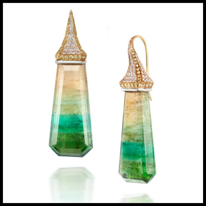 Four color tourmaline earrings by Rachael Sarc. One-of-a-kind tourmaline drops set in yellow gold and platinum with white and yellow diamonds.