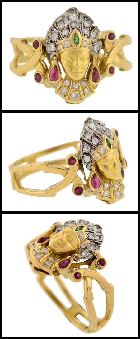 Art Deco 18k gold, emerald, ruby, and diamond Egyptian revival ring, circa 1920s.