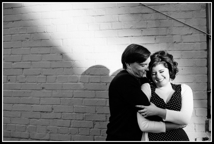 Becky and her fiance; engagement photo by Angel Kidwell photography - Diamonds in the Library