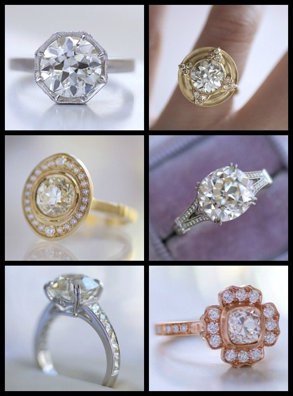 Engagement rings by Erika Winters in white, yellow, and rose gold with diamonds.