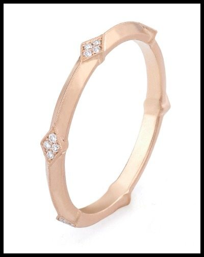 Erika Winters' Lily wedding band from the Fidelia collection. Shown in rose gold with diamond accents.