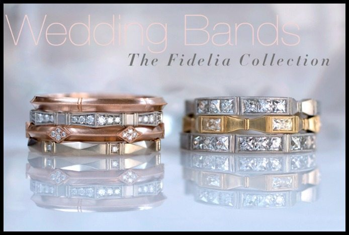 Erika Winters' wedding band line, the Fidelia Collection. Yellow, gold, and rose gold with diamonds.
