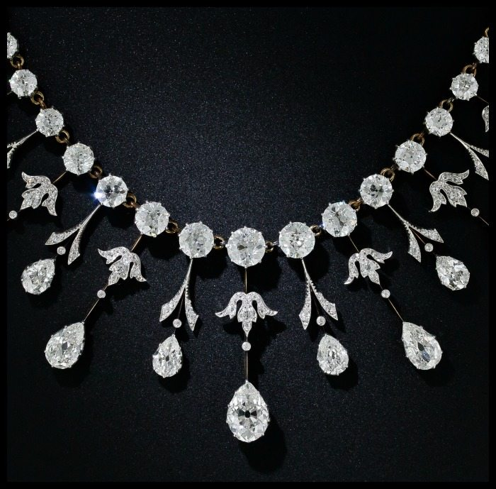 Fringe view of a fabulous 35 carat antique Edwardian diamond necklace at Lang Antiques. Circa 1900.