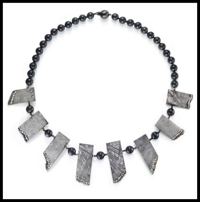 Rachael Sarc meteorite necklace with diamond accents and Andamooka opal beads.