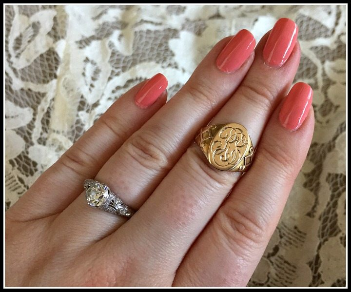 Wedding jewelry- my antique gold Ostby Barton signet ring