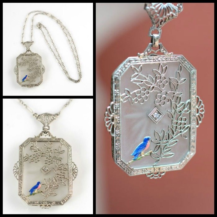 Exceptional antique camphor glass and filigree necklace with diamond and unusual enamel bird detail.
