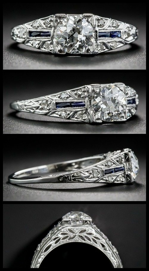 Beautiful antique Art Deco engagement ring with sapphires, a European-cut diamond and a beautiful, engraved white gold shank.