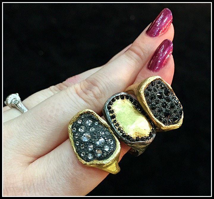 Extremely cool TAP by Todd Pownell rings with gold and pavillion-up diamonds