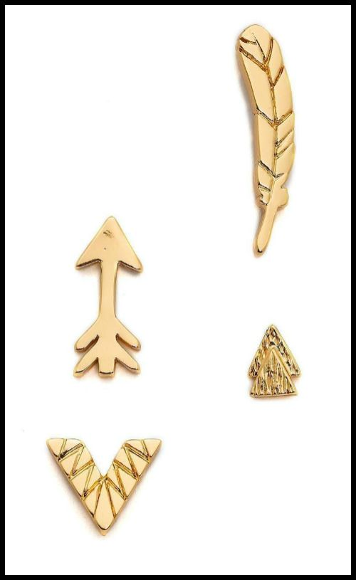 Gorjana Festival Mismatched gold-plated stud set. How fun are these?