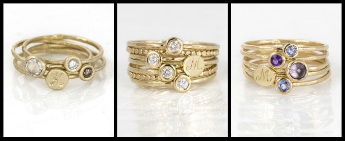 Monogram stacking rings in yellow gold from Melanie Casey jewelry