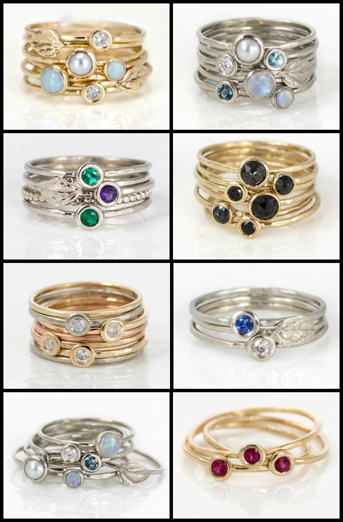 Stacking rings from Melanie Casey jewelry in yellow gold, white gold, rose gold, and silver; with gemstones and diamonds.
