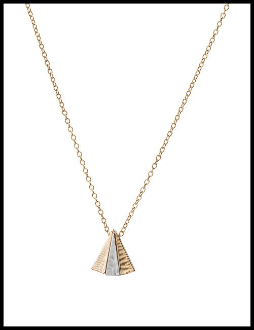 The Trepied necklace by Point Ashley. Three textured geometric shapes on a dainty chain, each plated in rose, white, or yellow gold.