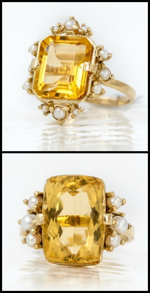 Two citrine and pearl rings in gold by Melanie Casey jewelry.