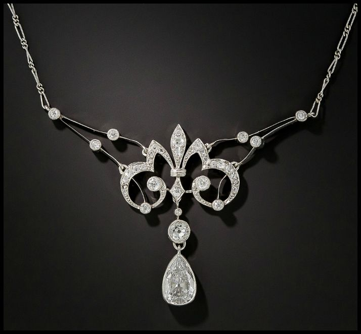 An antique French Belle Epoque diamond necklace with a 1.25 carat pear shaped diamond. Circa 1900. From Lang Antiques.