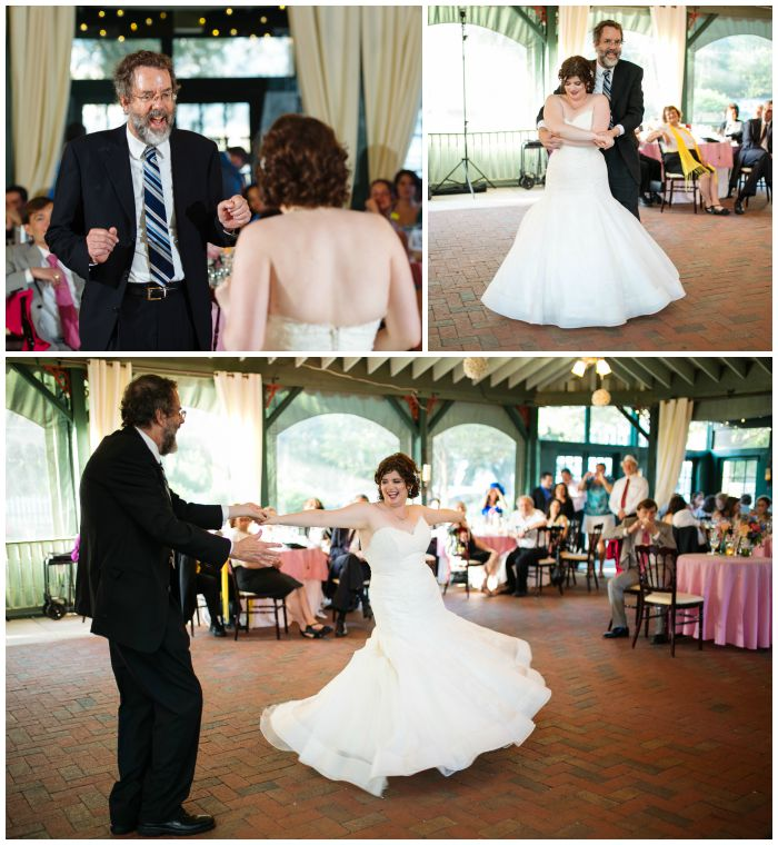 Dancing with my dad at my Vandiver Inn wedding reception. Photography by Angel Kidwell.