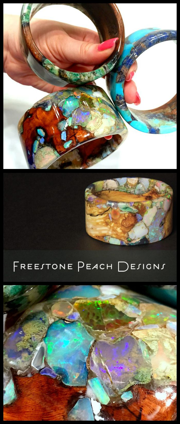 Freestone Peach Designs - beautiful, one of a kind pieces made from natural wood and gemstones.