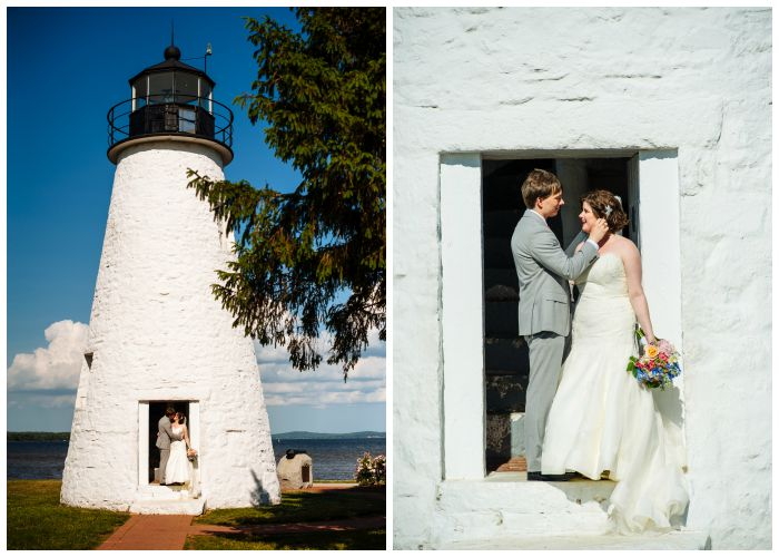 Lighthouse romance in Havre de Grace after our Vandiver Inn wedding. Photography by Angel Kidwell.