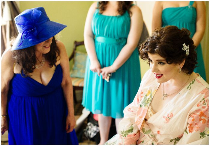 Putting on the finishing touches before my wedding at the Vandiver Inn. Photography by Angel Kidwell.