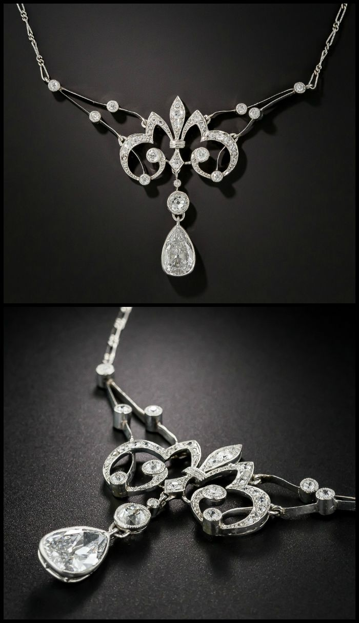 The antique diamond necklace I wore at my wedding. It's a French Belle Epoque diamond necklace with a 1.25 carat pear shaped diamond. Circa 1900. At Lang Antiques.