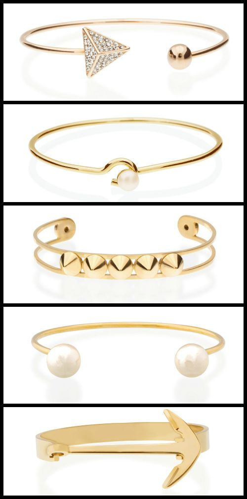 These fun, gold-plated bangles from Benique are all you need to get your arm party started.