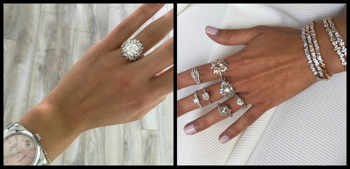 Two hands full of fabulous diamond rings from the Suzanne Kalan Devoted collection