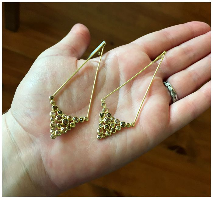 A beautiful pair of Todd Reed colored diamond earrings in gold
