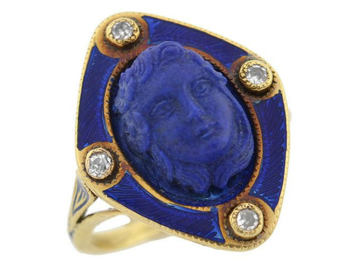 An antique Victorian carved lapis ring with diamonds and blue enamel, circa 1800. From A Brandt and Son.