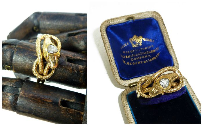 Antique Victorian gold and diamond snake ring from the late 19th century. At Antique Animal Jewelry.