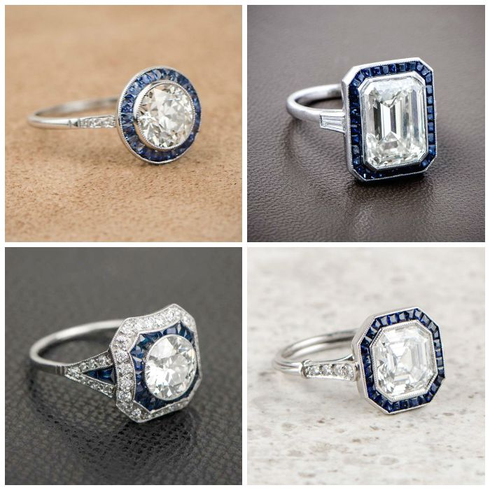 Antique sapphire and diamond engagement rings