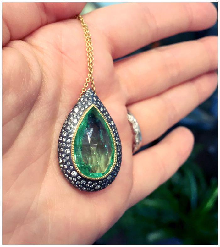 Beautiful Todd Reed green tourmaline and diamond pendant necklace.