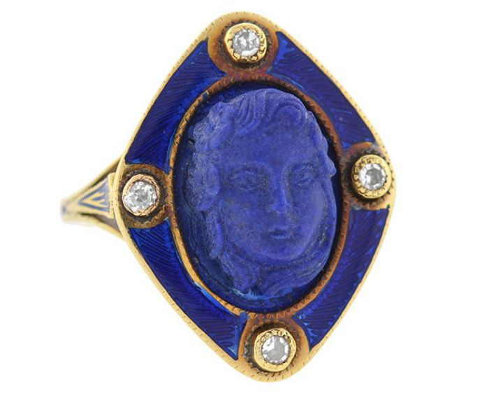 Front view of a Victorian carved lapis ring with diamonds and blue enamel, circa 1800. From A Brandt and Son.