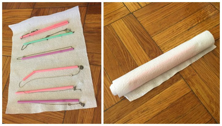 How to pack your necklaces for a move using plastic straws and paper towels.