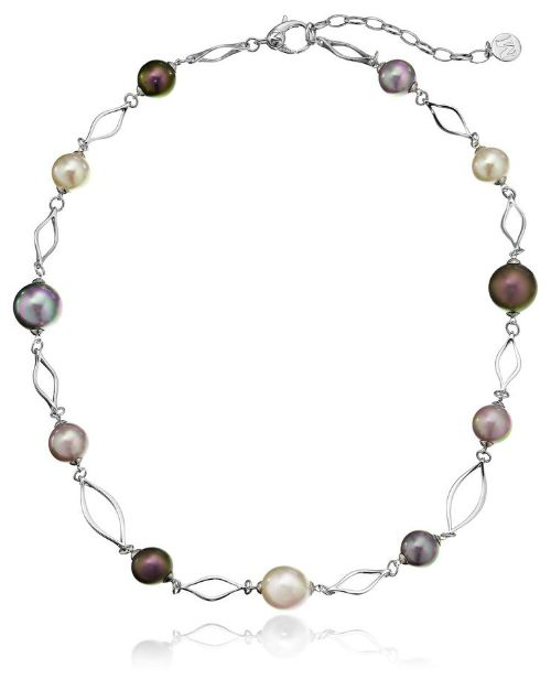 Majorica multi-colored pearl necklace in sterling silver.