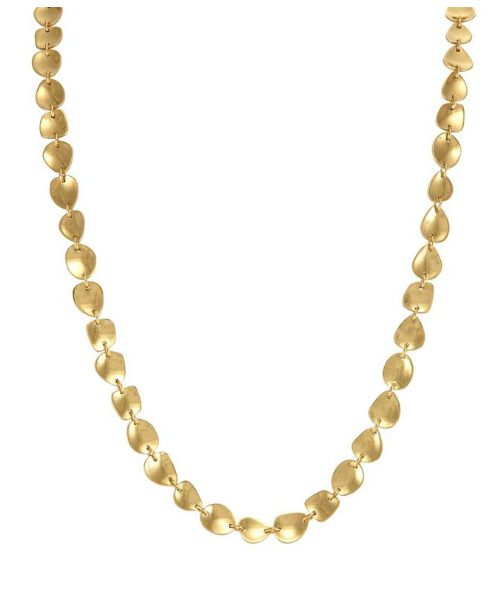 The Fiona Pod necklace in gold by Melinda Maria. This 22 inch beauty is perfect for layering or solo wear.