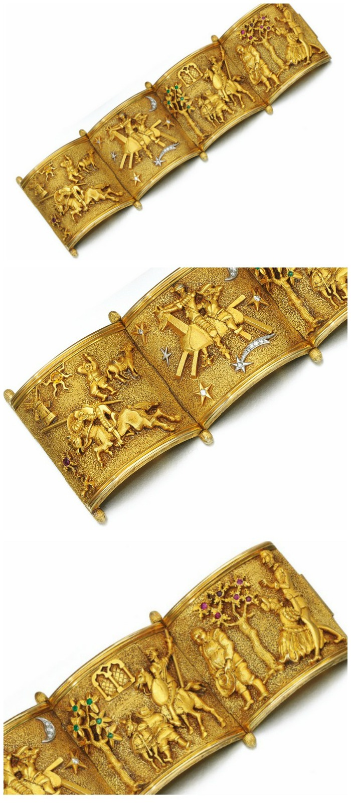 A fabulous bracelet from the 1950's that shows the scenes from the story of Don Quixote. All views.