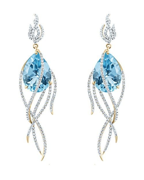 Arya Esha Galaxy collection Comet earrings featuring blue topaz (34.37 ctw) and diamonds (1.83 ctw) set in recycled 18k gold, yellow, white, or rose finish.