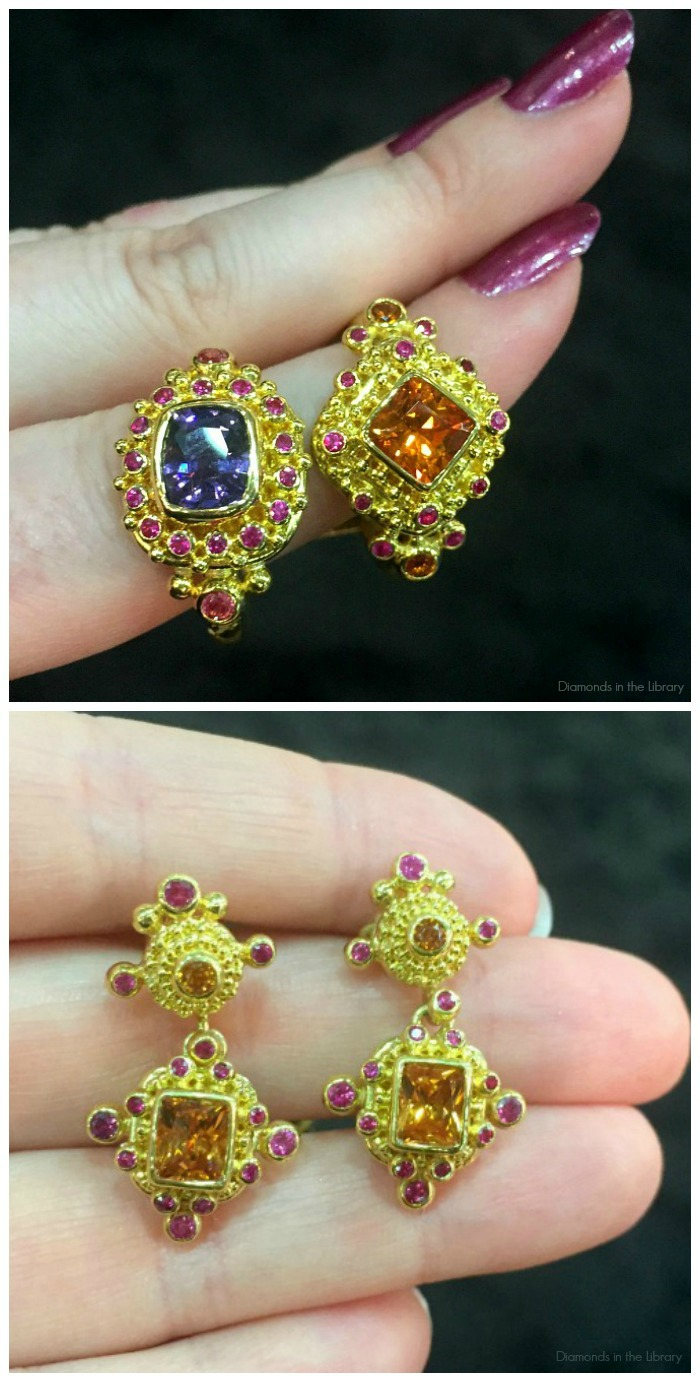 Brightly colored gemstone earrings and rings in granulated gold from Zaffiro jewelry.