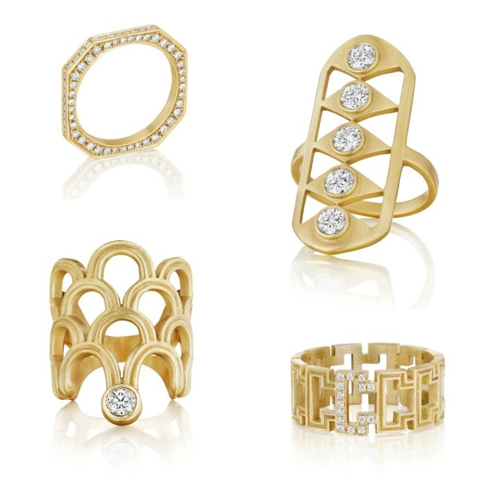 Four gold and diamond rings by Doryn Wallach