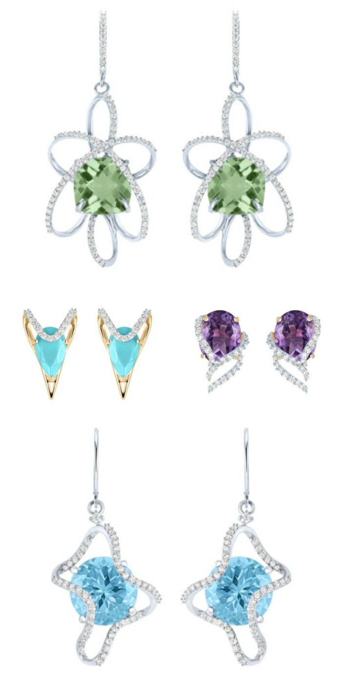 Gemstone and diamond earrings in recycled gold; from the Arya Esha Galaxy Collection