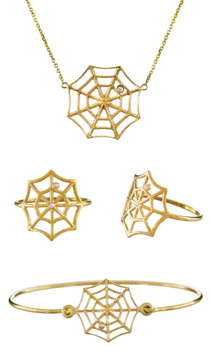 Gold and diamond spiderweb jewelry by Jennie Kwon; at Twist Online.