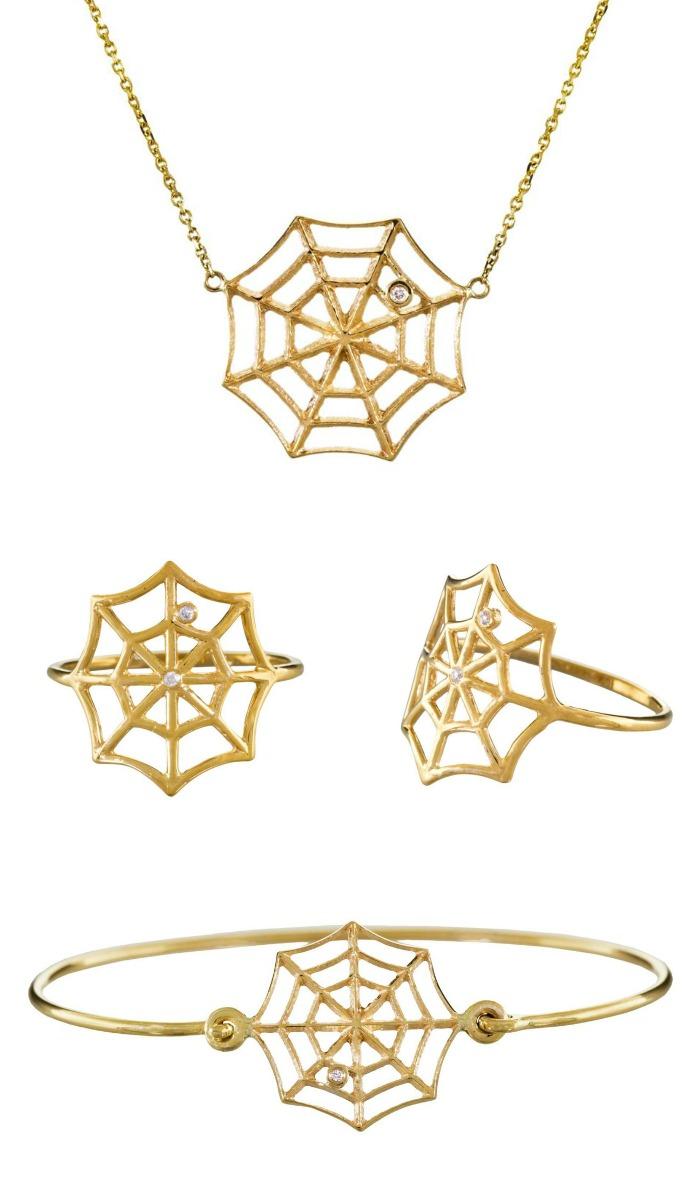 Gold and diamond spiderweb jewelry by Jennie Kwon; at Twist Online.
