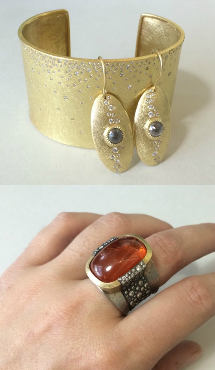 Jewels by Todd Reed; gemstones and diamonds in textured gold