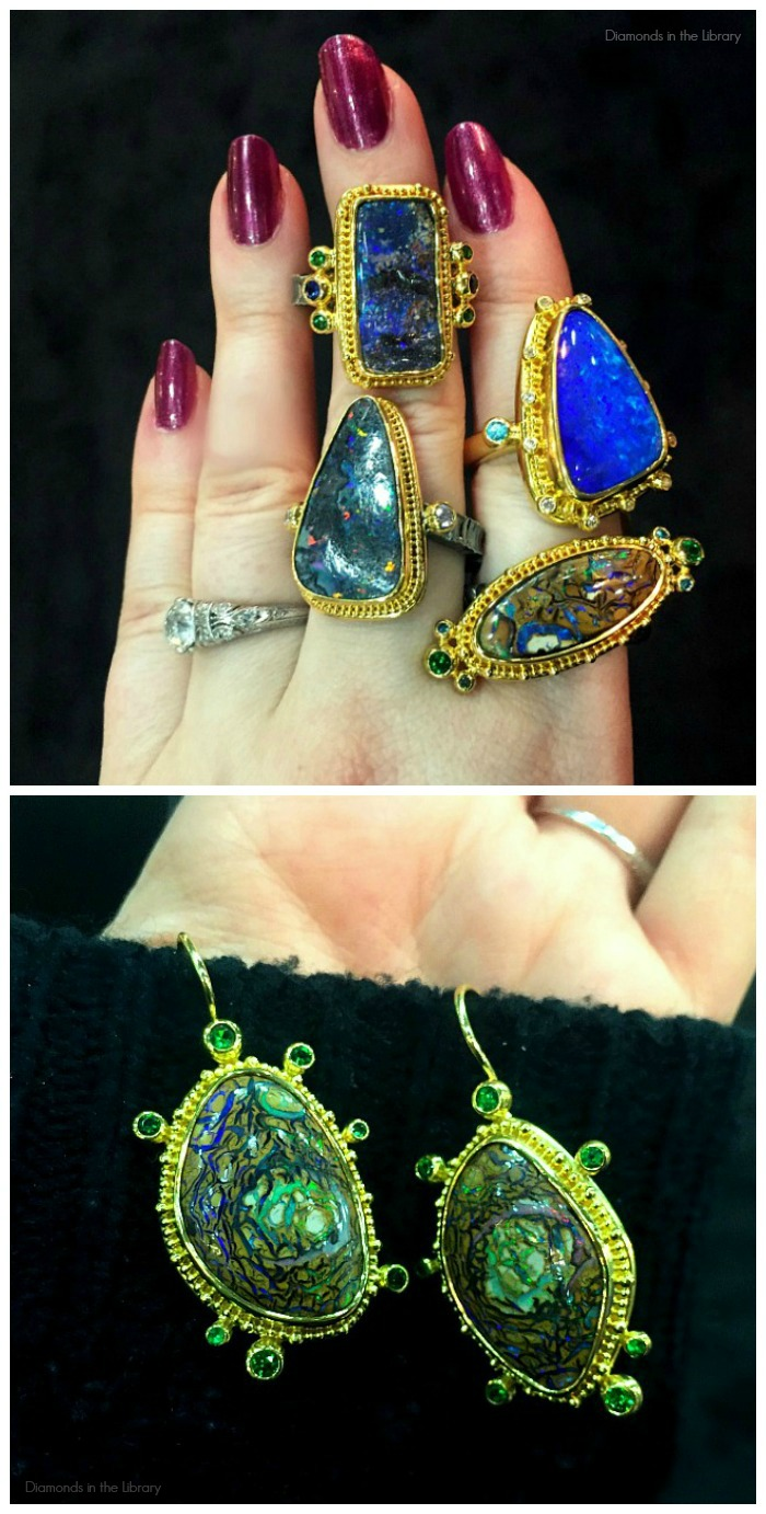 Rings and earrings made from fantastic examples of unusual opals. All by Zaffiro Jewelry.