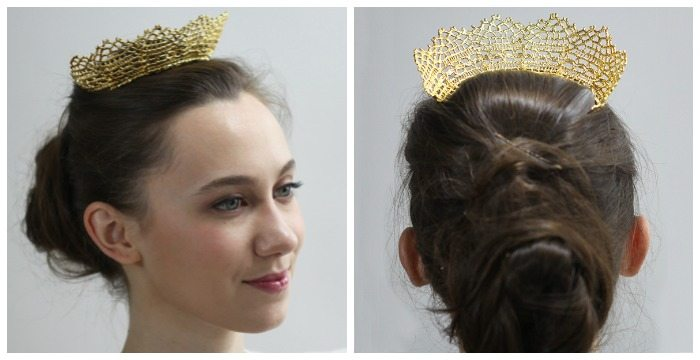 The Cosette gold lace tiara by Monika Knutsson is made from actual antique lace dipped into 24k gold.