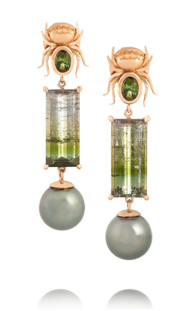 The Secret earrings by Daniela Villegas earrings, in rose gold with tourmaline and pearls. Note the spider surmounts.