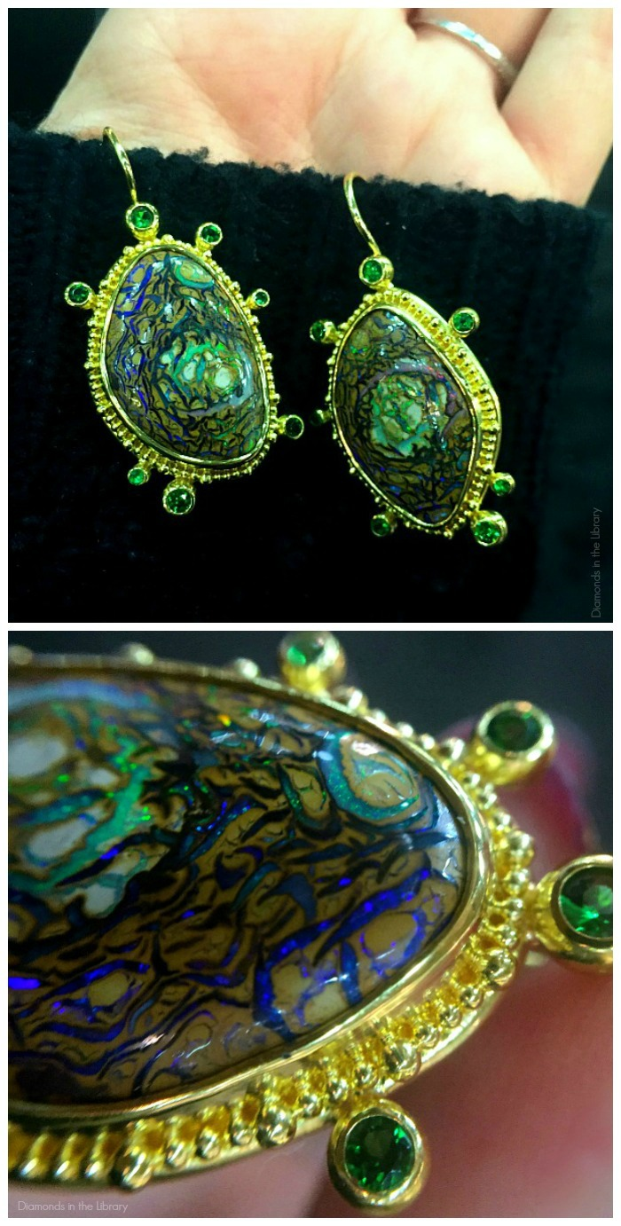 These earrings from Zaffiro jewelry feature rare and unusual opals in gold.