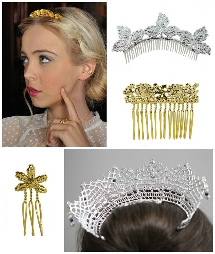 These hair accessories from Monika Knutsson are all made out of lace dipped into 24k gold or silver.