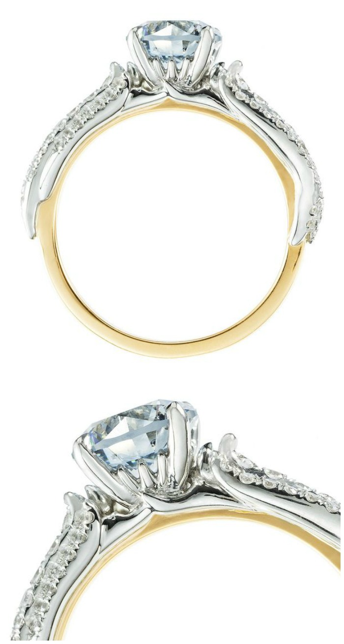 Tides of Time - a custom-designed mixed-metal engagement ring by Salt + Stone